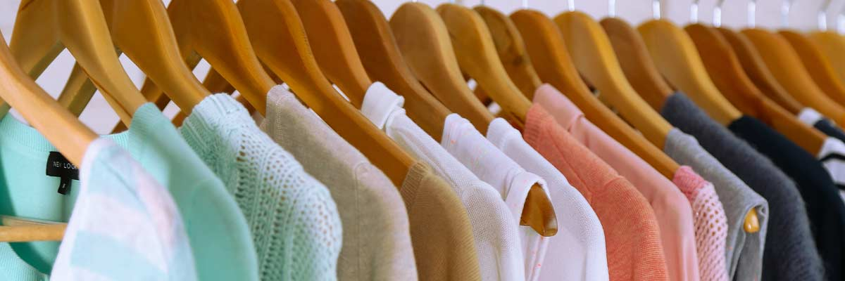 Stylish clothing hanging in a refreshed closet